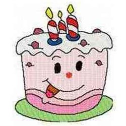 Cartoon Birthday Cake embroidery design