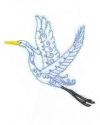 Flying Heron embroidery design