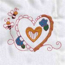 Bee & Heart embroidery design