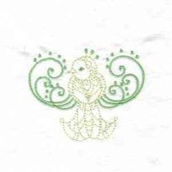 Scrollwork Bird embroidery design