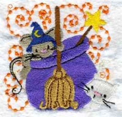 Witch Mouse embroidery design