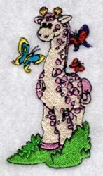 Giraffe & Butterfly embroidery design