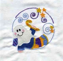 Halloween Ghost Circle embroidery design