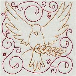 Peace Dove Block embroidery design
