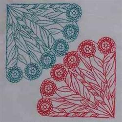 Flower Quilt Corner embroidery design