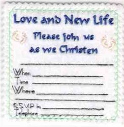 Christening Invitation embroidery design