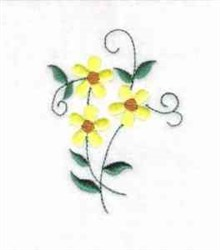 Three Daisies embroidery design