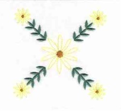 Crossed Daisies embroidery design