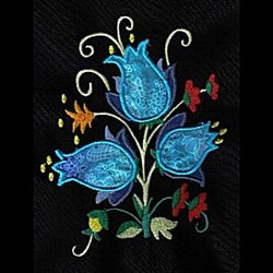 Jacobean Floral Applique embroidery design