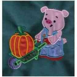 Applique Pumpkin Pig embroidery design
