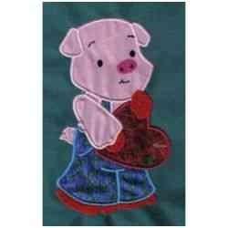 Applique Valentine Pig embroidery design