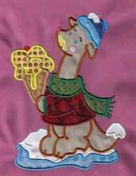 Applique Ice Cream Roo embroidery design
