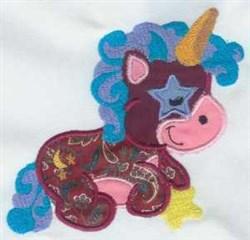 Applique Star Unicorn embroidery design