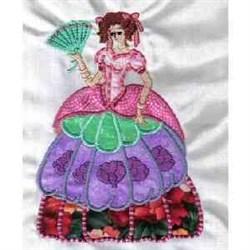 Applique Victorian Lady embroidery design