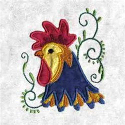 Applique Rooster Profile embroidery design