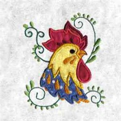 Applique Rooster Head embroidery design