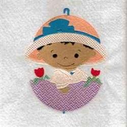 April Shower Girl embroidery design