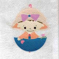 April Showers Girl embroidery design