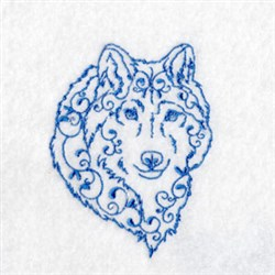 Bluework Arctic Wolf embroidery design