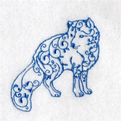 Bluework Arctic Fox embroidery design