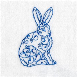 Bluework Arctic Hare embroidery design