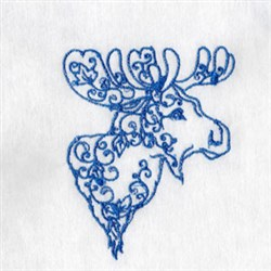 Bluework Arctic Moose embroidery design