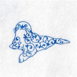 Bluework Arctic Seal embroidery design