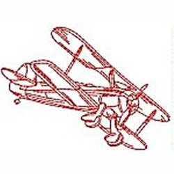 Redwork Biplane embroidery design