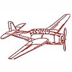 Redwork Prop Plane embroidery design