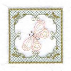 Butterfly Quilt Square embroidery design