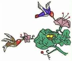 Hummingbirds & Flowers embroidery design