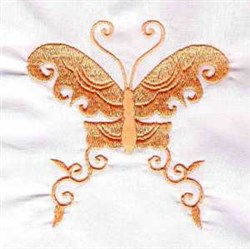 Curled Butterfly embroidery design