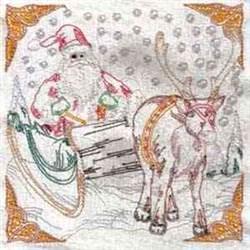 Santa Sleigh Block embroidery design