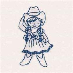 Cute Bluework Cowgirl embroidery design
