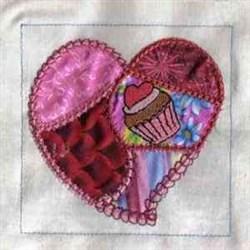 Applique Cupcake Heart embroidery design