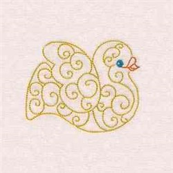 Curly Christmas Dove embroidery design