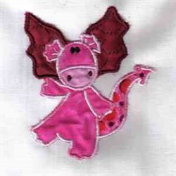 Applique Pink Dragon embroidery design