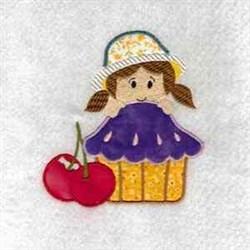 Cute Cupcake Girl embroidery design