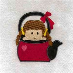 Cute Teapot Girl embroidery design