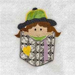 Cute Pocket Girl embroidery design