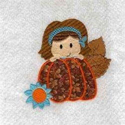 Cute Pumpkin Girl embroidery design