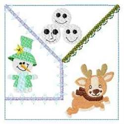 Snowmen Crazy Block embroidery design