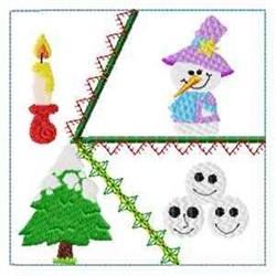 Snowmen Crazy Quilt embroidery design