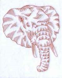 Redwork Pachyderm Head embroidery design