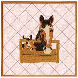 Horse & Colt Potholder embroidery design