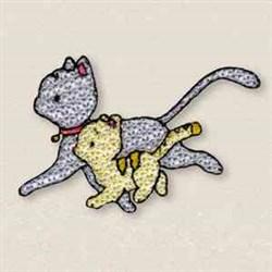 Running Kitties embroidery design