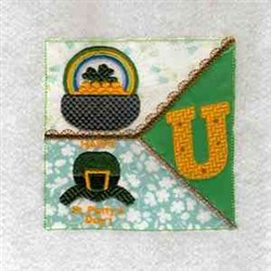 Happy St. Patty Block embroidery design