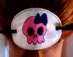 Girlie Skull Ponytail embroidery design