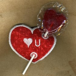 Heart U Lolly Holder embroidery design