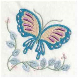 Jacobean Butterfly Corner embroidery design
